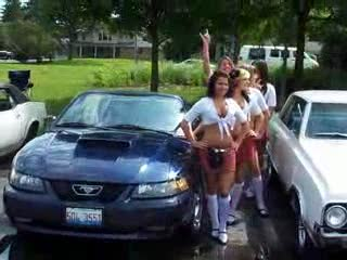The ladies next to a somewhat newer mustang from:DotComd