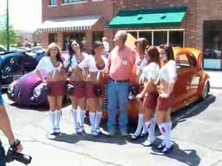 TK Ladies posing with a Classic Hot Rod from:DotComd